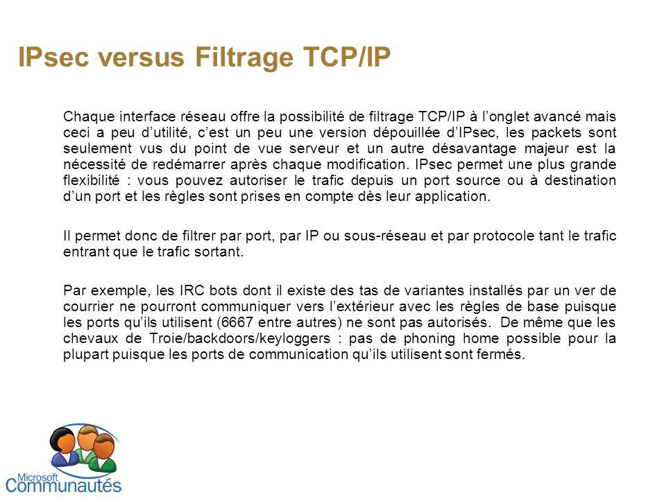 IPsec versus Filtrage TCP/IP