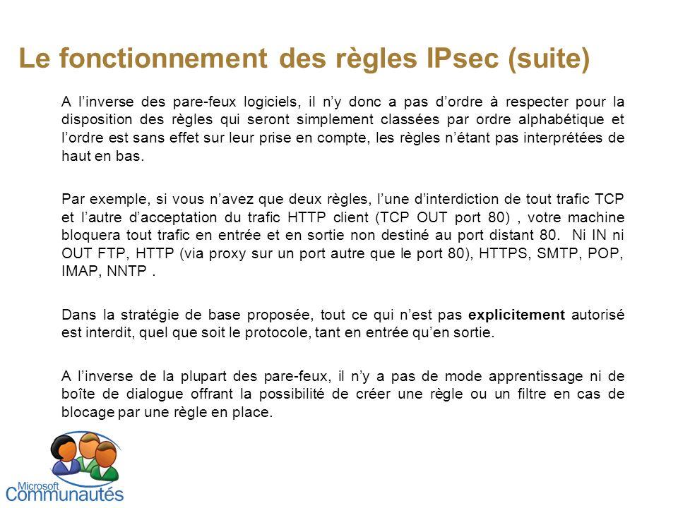 Le fonctionnement des règles IPsec (suite)