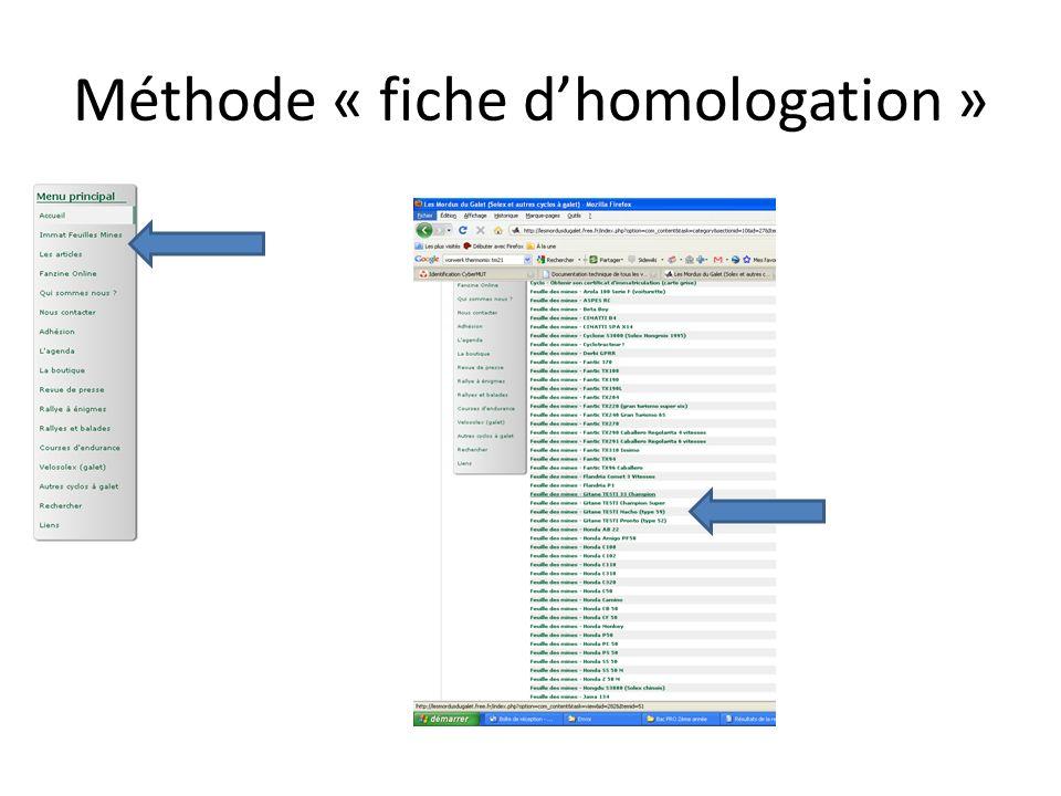 Méthode « fiche d'homologation »