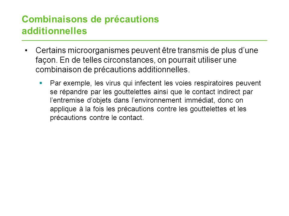 Combinaisons de précautions additionnelles
