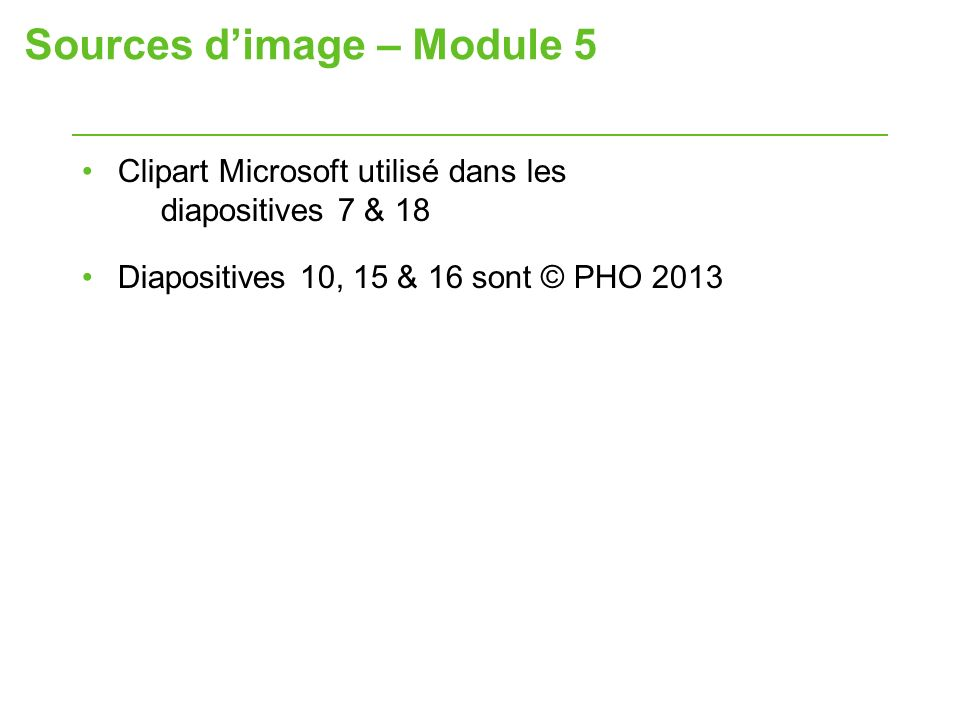 Sources d'image – Module 5