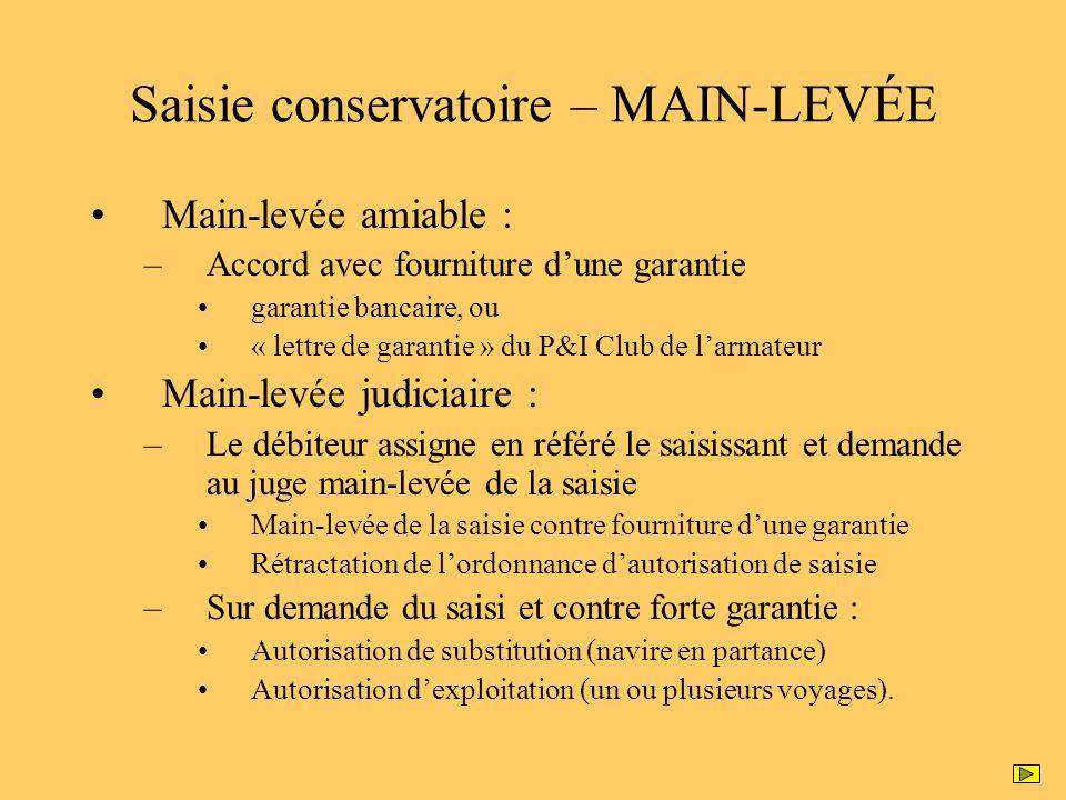 Saisie conservatoire – MAIN-LEVÉE