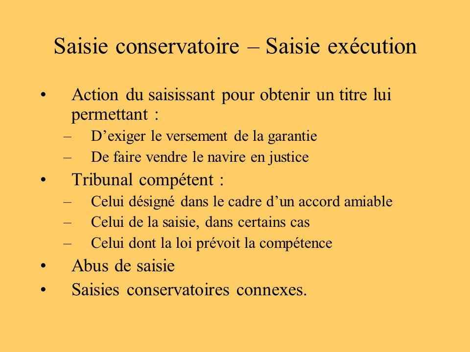 Saisie conservatoire – Saisie exécution