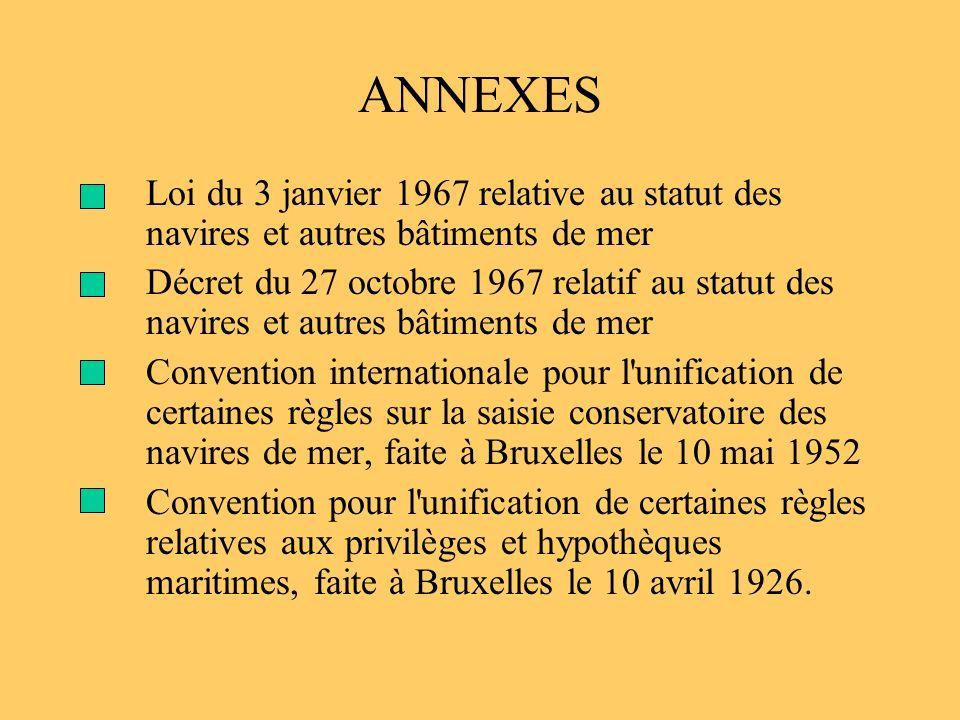 ANNEXES Loi du 3 janvier 1967 relative au statut des navires et autres bâtiments de mer.