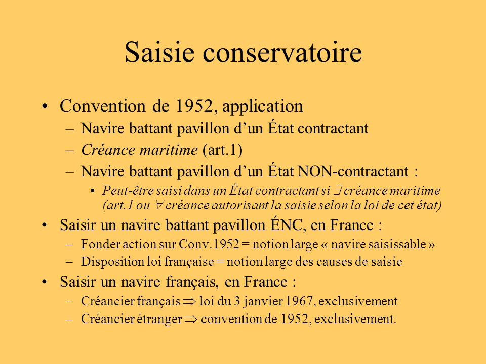 Saisie conservatoire Convention de 1952, application