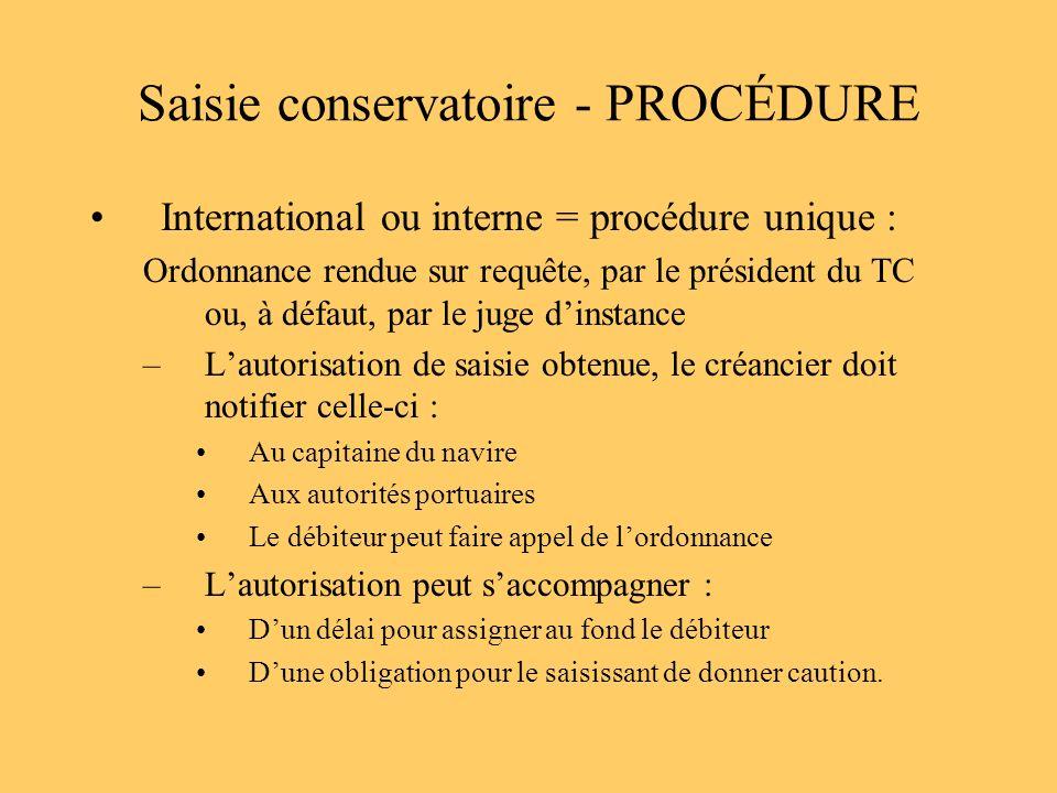 Saisie conservatoire - PROCÉDURE