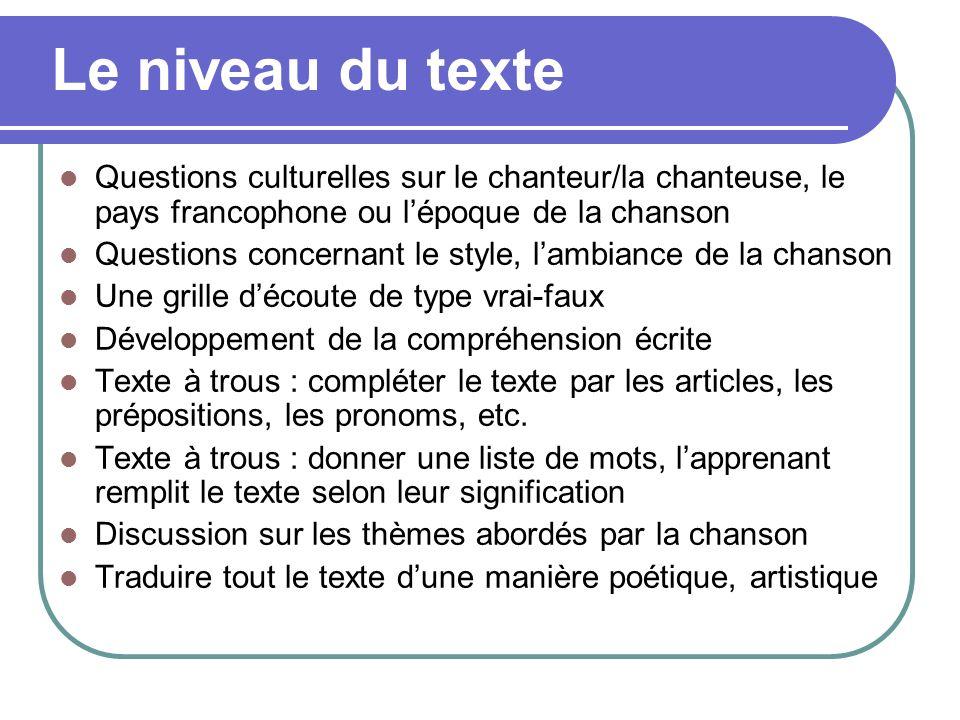 Le niveau du texte Questions culturelles sur le chanteur/la chanteuse, le pays francophone ou l'époque de la chanson.