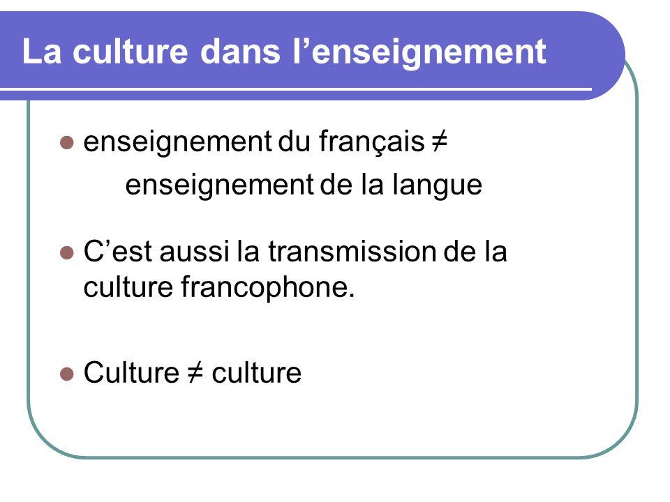 La culture dans l'enseignement