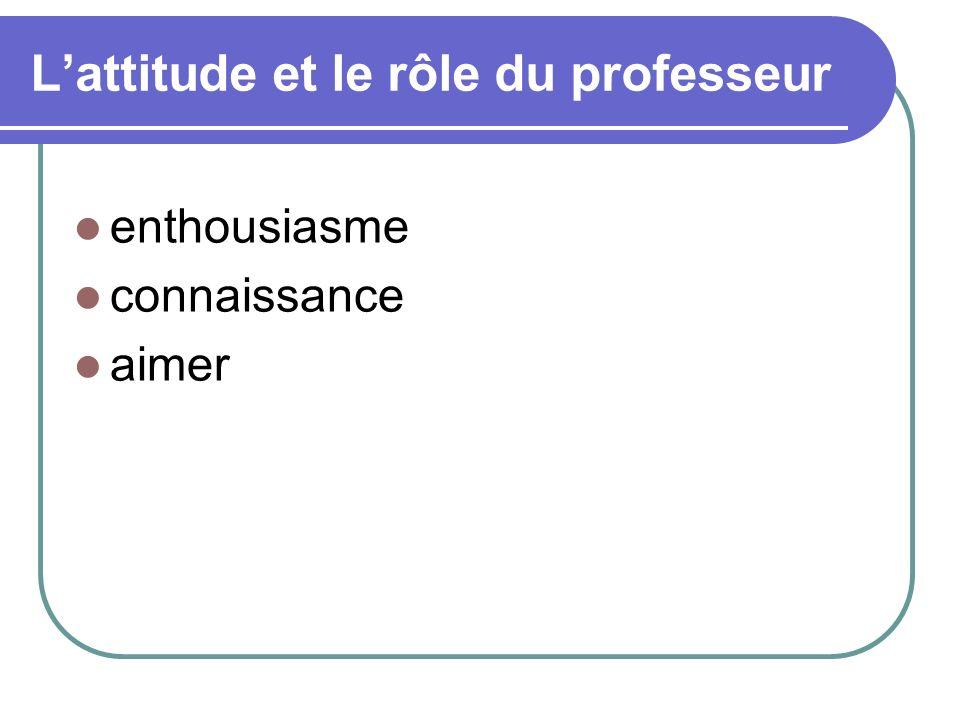L'attitude et le rôle du professeur
