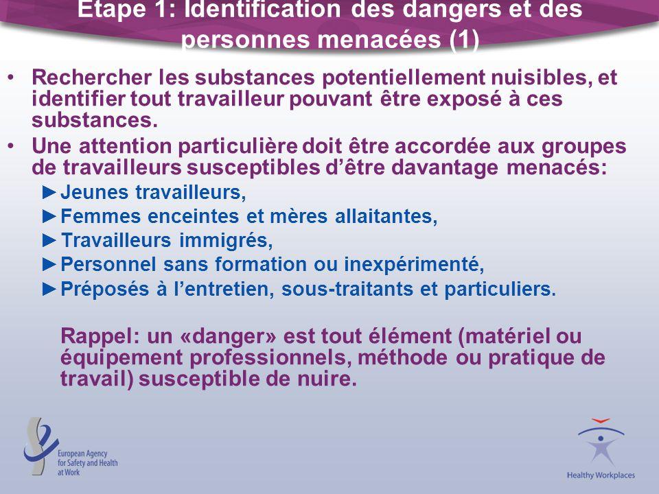 Étape 1: Identification des dangers et des personnes menacées (1)