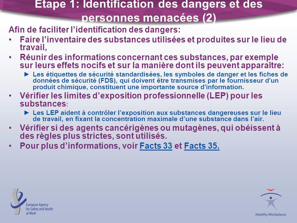 Étape 1: Identification des dangers et des personnes menacées (2)