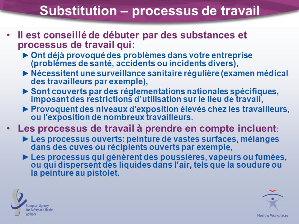 Substitution – processus de travail