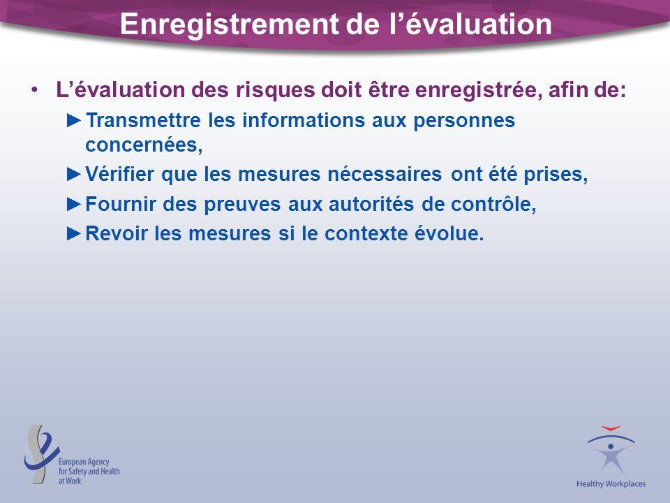 Enregistrement de l'évaluation