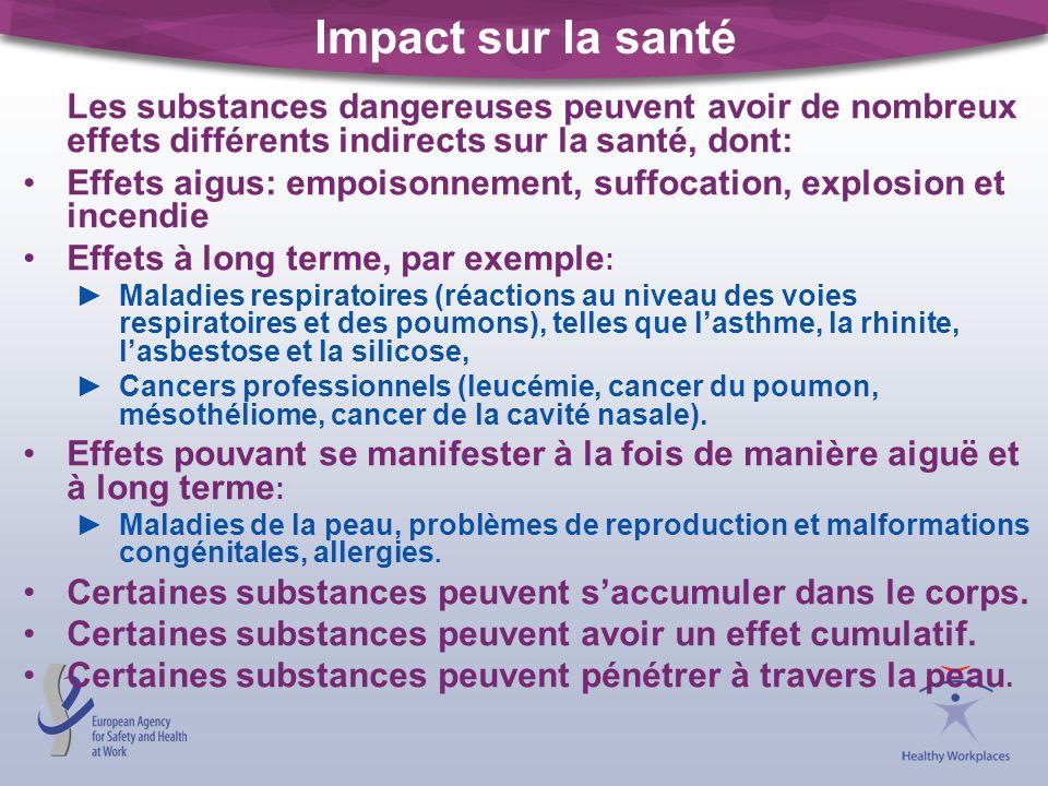 Impact sur la santé Les substances dangereuses peuvent avoir de nombreux effets différents indirects sur la santé, dont:
