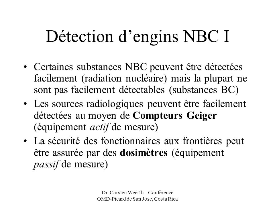 Détection d'engins NBC I