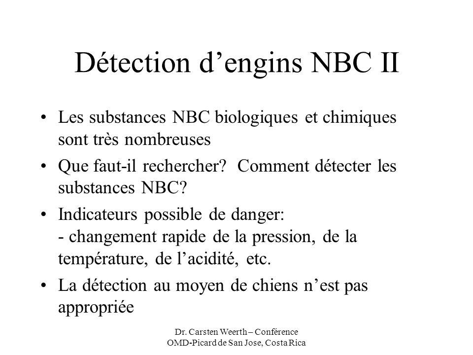 Détection d'engins NBC II