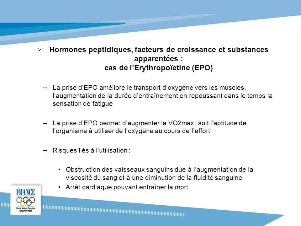 Hormones peptidiques, facteurs de croissance et substances apparentées : cas de l'Erythropoïetine (EPO)