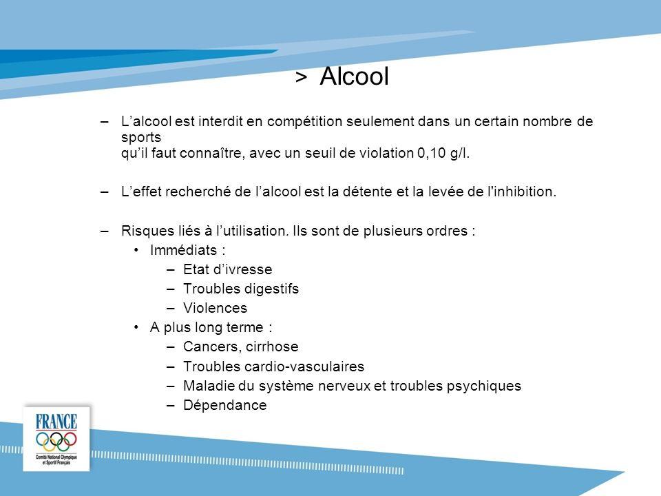 Alcool L'alcool est interdit en compétition seulement dans un certain nombre de sports qu'il faut connaître, avec un seuil de violation 0,10 g/l.