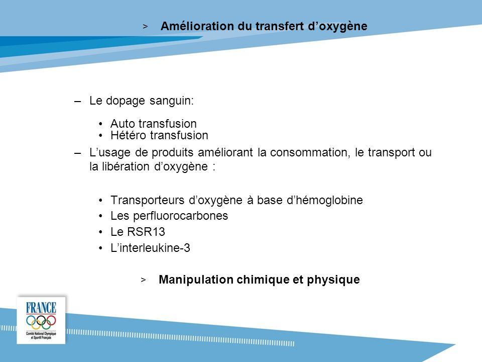 Amélioration du transfert d'oxygène Manipulation chimique et physique
