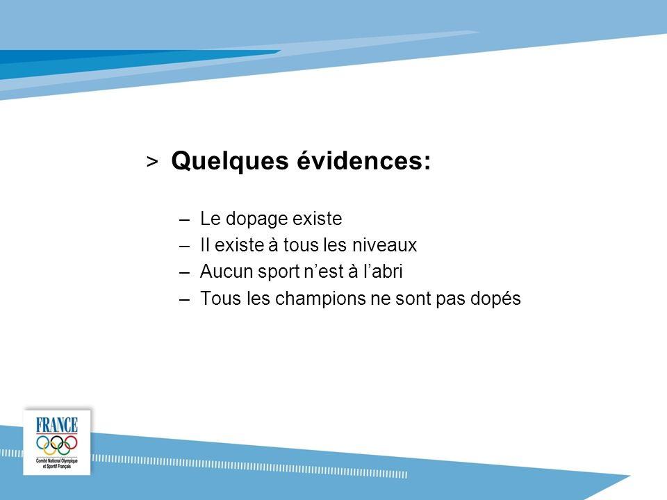 Quelques évidences: Le dopage existe Il existe à tous les niveaux
