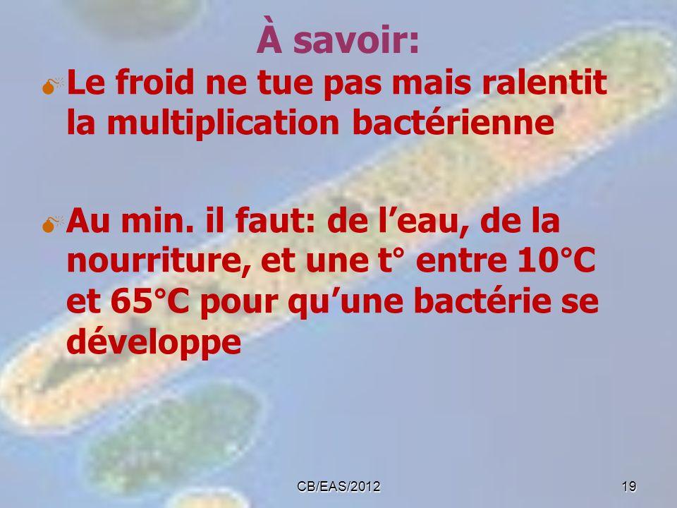 À savoir: Le froid ne tue pas mais ralentit la multiplication bactérienne.