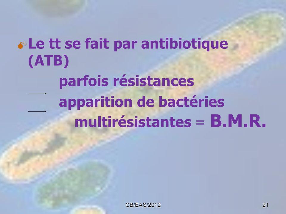 Le tt se fait par antibiotique (ATB) parfois résistances