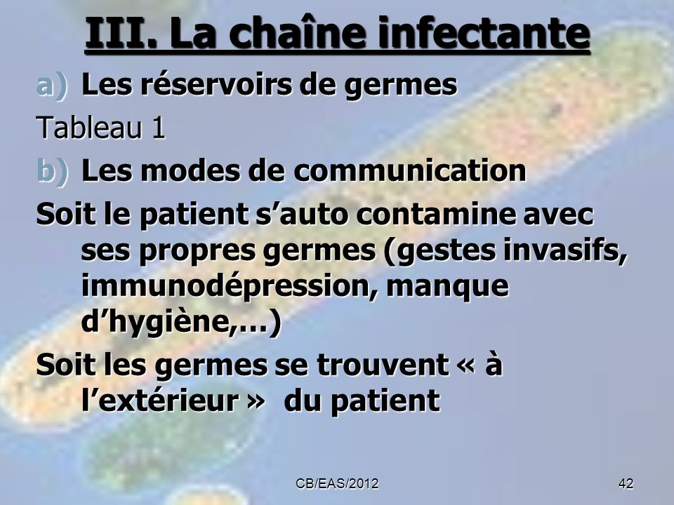 III. La chaîne infectante