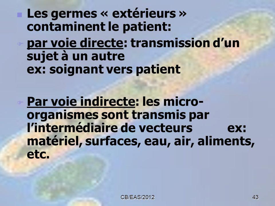 Les germes « extérieurs » contaminent le patient: