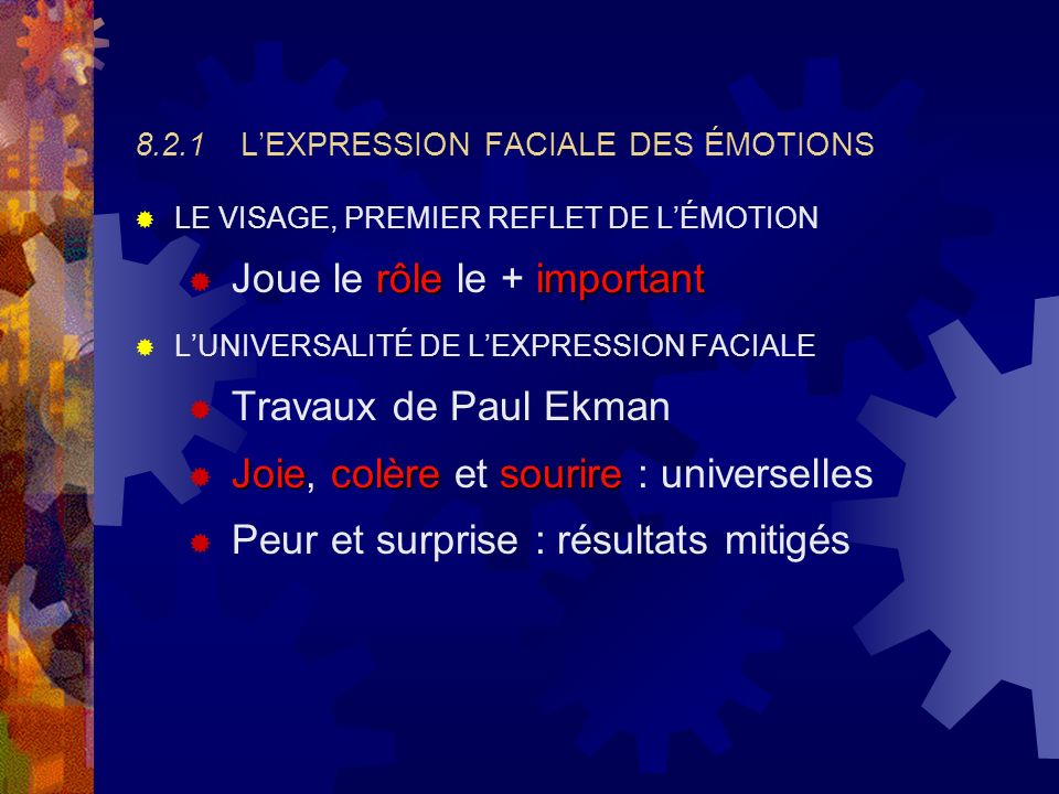 8.2.1 L'EXPRESSION FACIALE DES ÉMOTIONS