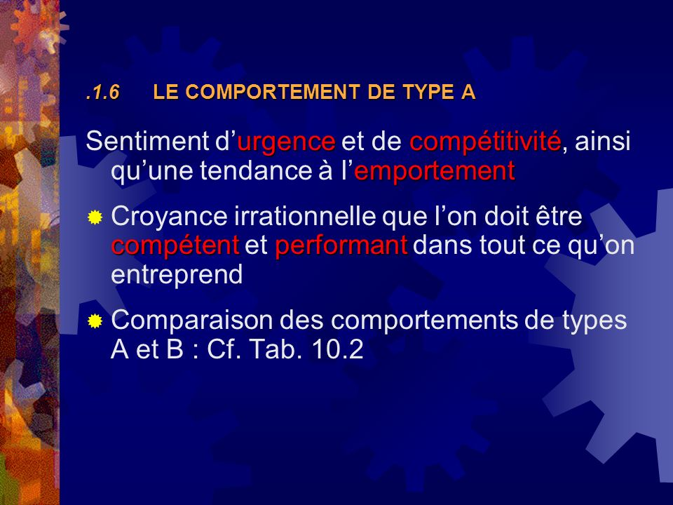 .1.6 LE COMPORTEMENT DE TYPE A