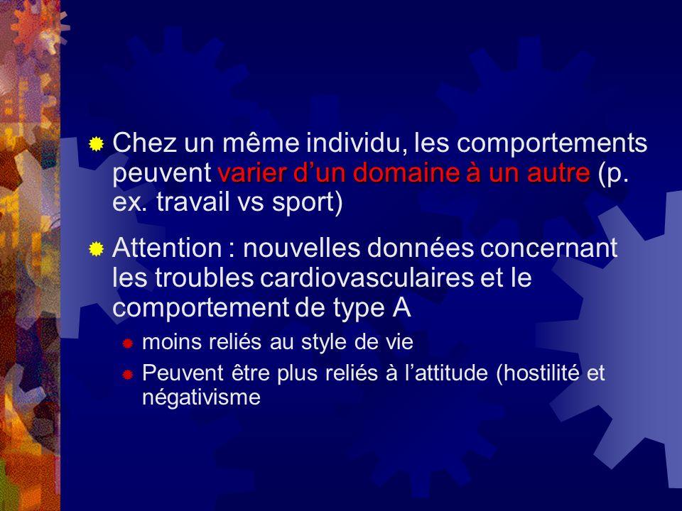 Chez un même individu, les comportements peuvent varier d'un domaine à un autre (p. ex. travail vs sport)