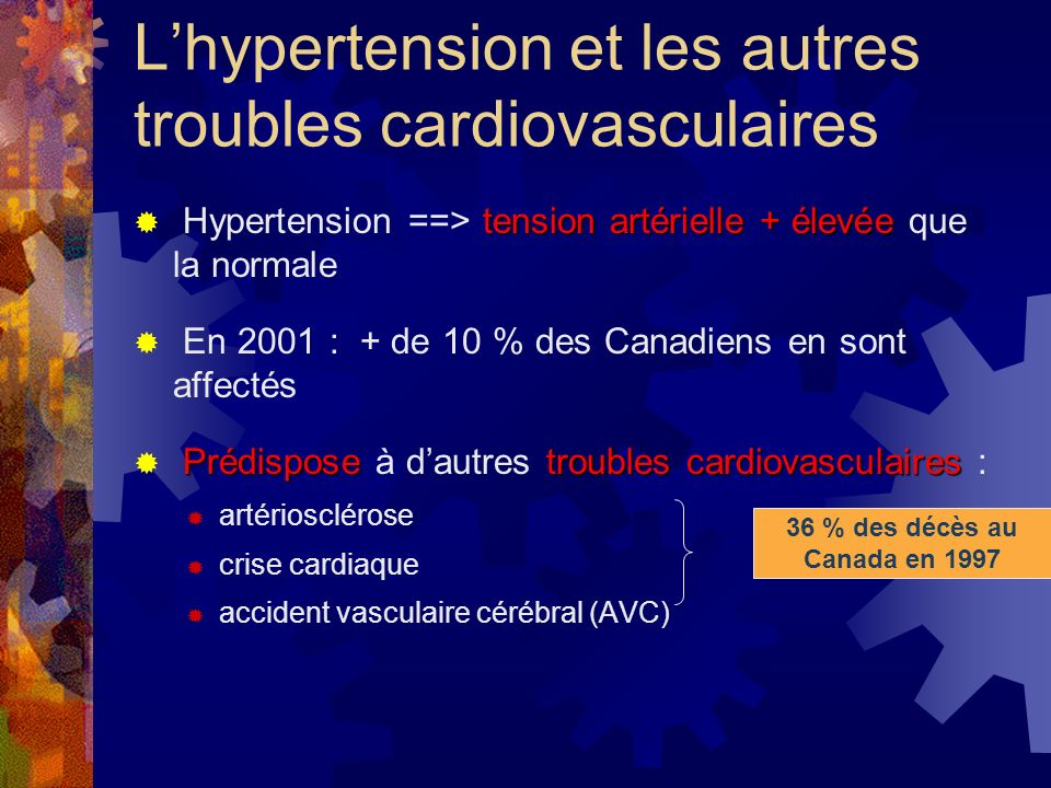 L'hypertension et les autres troubles cardiovasculaires