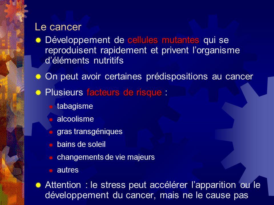 Le cancer Développement de cellules mutantes qui se reproduisent rapidement et privent l'organisme d'éléments nutritifs.