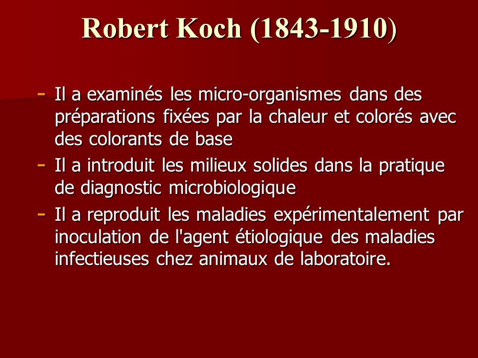 Robert Koch (1843-1910) Il a examinés les micro-organismes dans des préparations fixées par la chaleur et colorés avec des colorants de base.