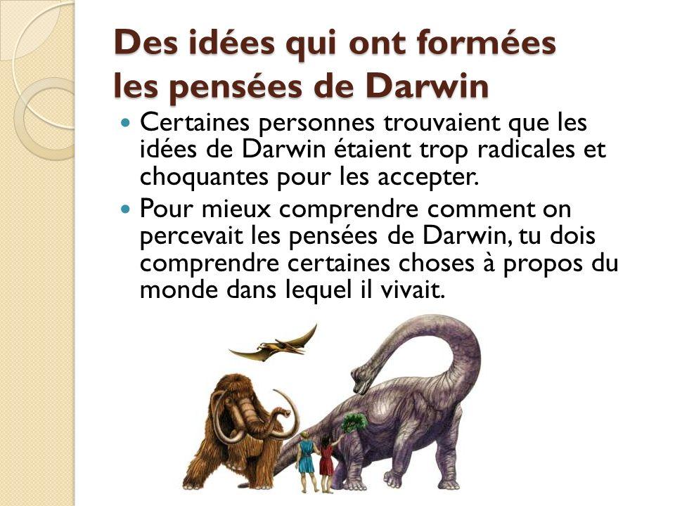 Des idées qui ont formées les pensées de Darwin