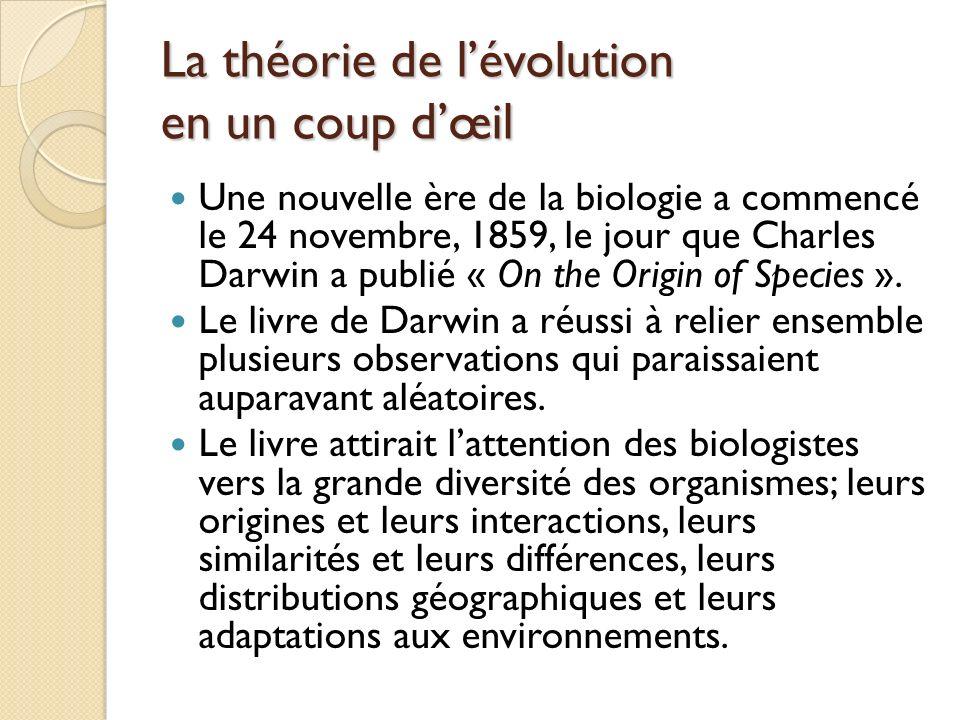 La théorie de l'évolution en un coup d'œil