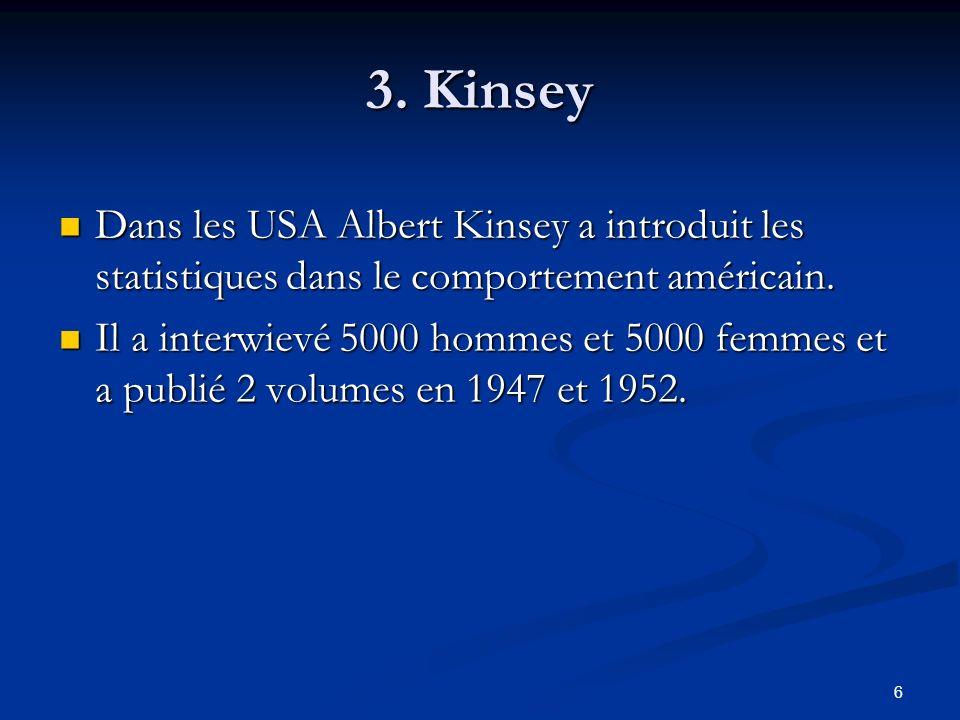 3. Kinsey Dans les USA Albert Kinsey a introduit les statistiques dans le comportement américain.