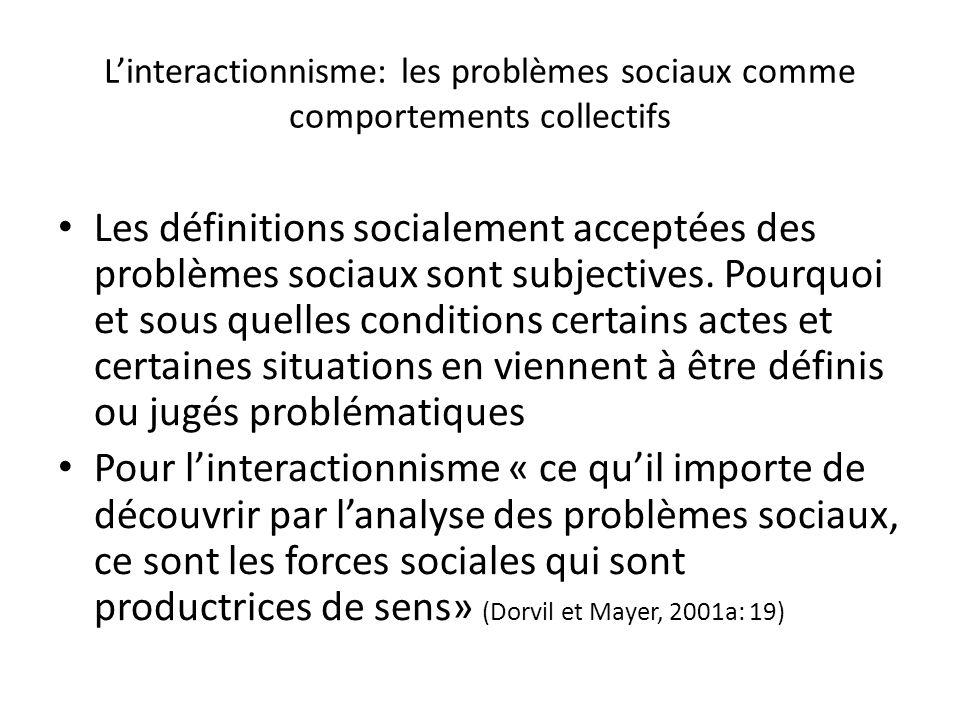 L'interactionnisme: les problèmes sociaux comme comportements collectifs