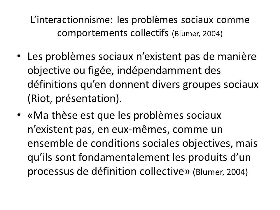 L'interactionnisme: les problèmes sociaux comme comportements collectifs (Blumer, 2004)