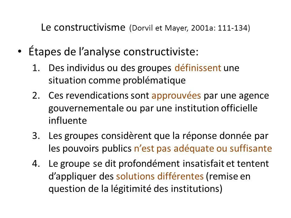 Le constructivisme (Dorvil et Mayer, 2001a: 111-134)