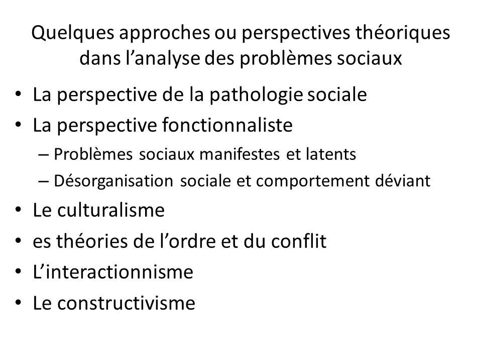 La perspective de la pathologie sociale La perspective fonctionnaliste
