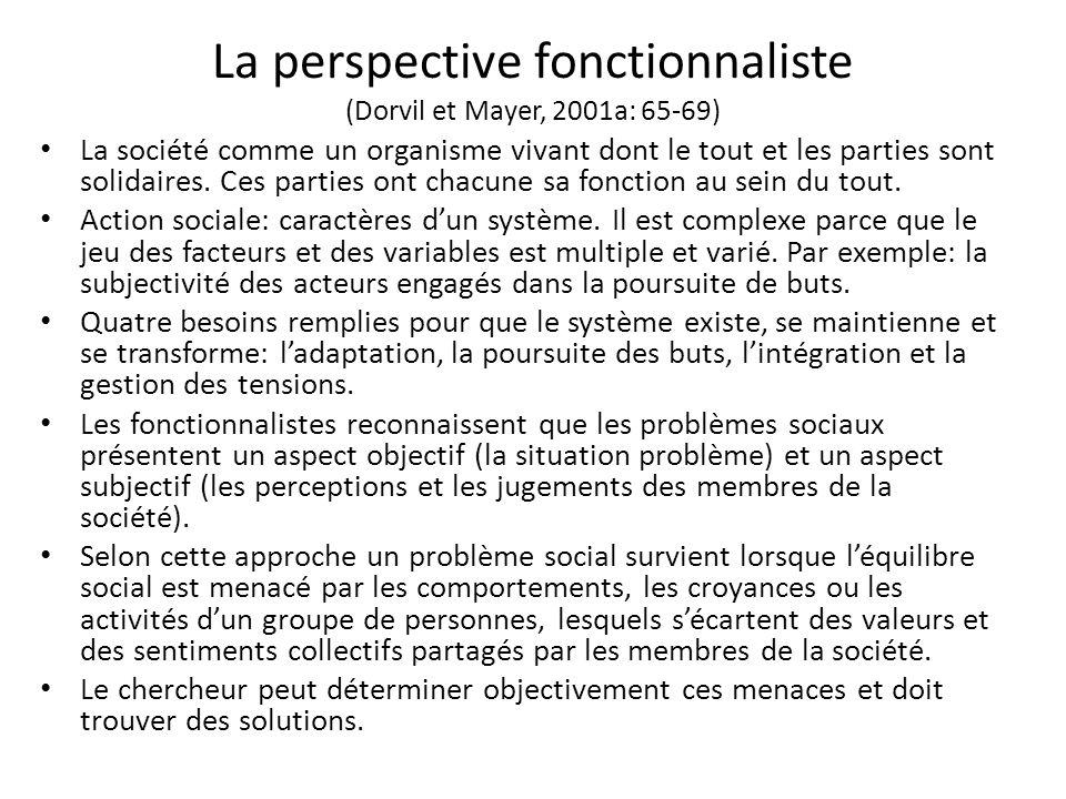 La perspective fonctionnaliste (Dorvil et Mayer, 2001a: 65-69)