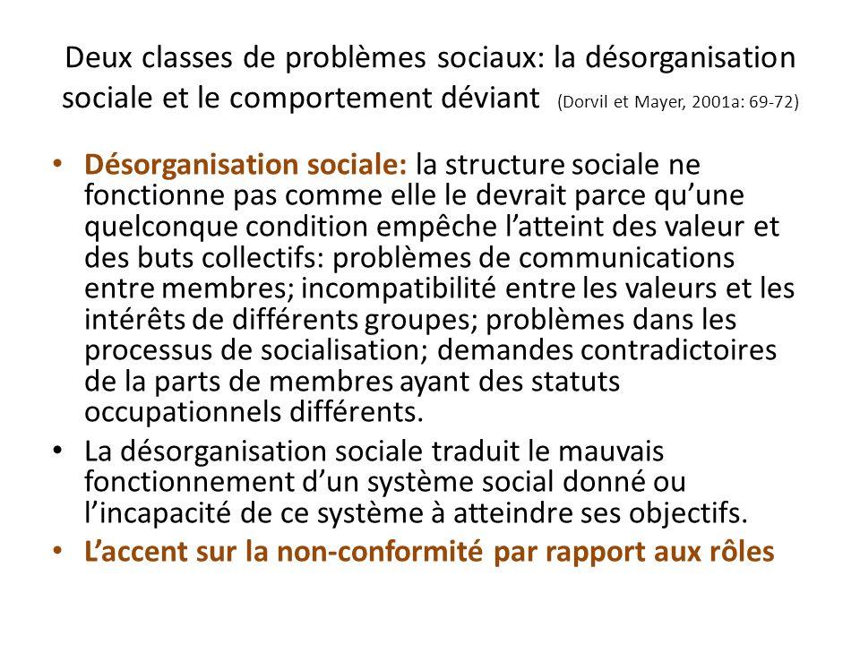 Deux classes de problèmes sociaux: la désorganisation sociale et le comportement déviant (Dorvil et Mayer, 2001a: 69-72)