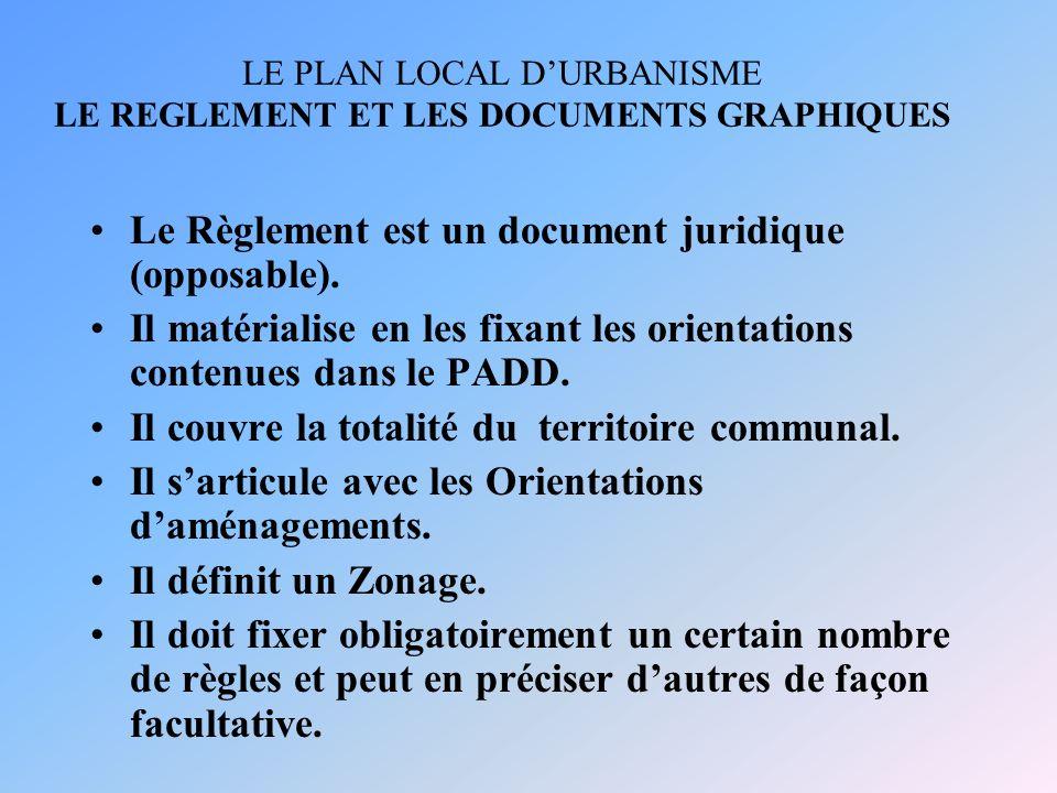 LE PLAN LOCAL D'URBANISME LE REGLEMENT ET LES DOCUMENTS GRAPHIQUES