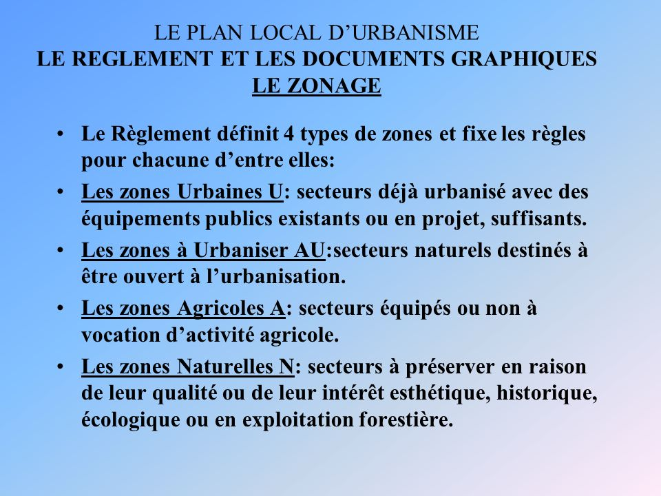 LE PLAN LOCAL D'URBANISME LE REGLEMENT ET LES DOCUMENTS GRAPHIQUES LE ZONAGE