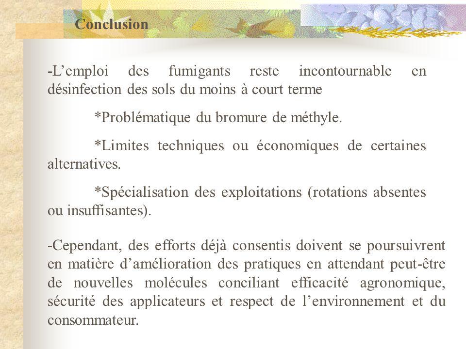 Conclusion -L'emploi des fumigants reste incontournable en désinfection des sols du moins à court terme.