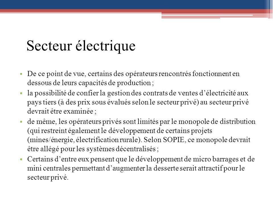 Secteur électrique De ce point de vue, certains des opérateurs rencontrés fonctionnent en dessous de leurs capacités de production ;