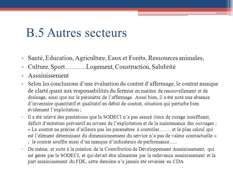 B.5 Autres secteurs Santé, Education, Agriculture, Eaux et Forêts, Ressources animales, Culture, Sport……….Logement, Construction, Salubrité.