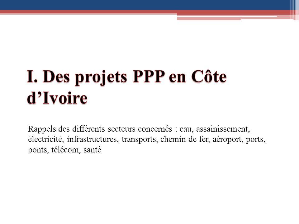 I. Des projets PPP en Côte d'Ivoire