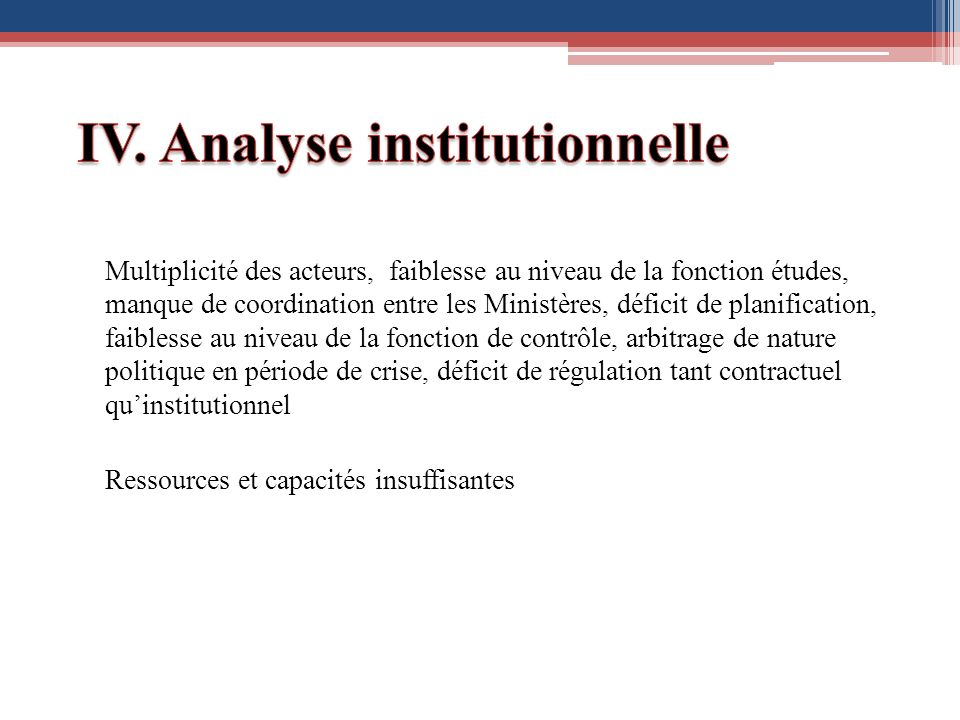 IV. Analyse institutionnelle
